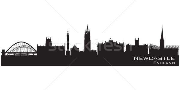 Newcastle Anglia sziluett részletes vektor sziluett Stock fotó © Yurkaimmortal