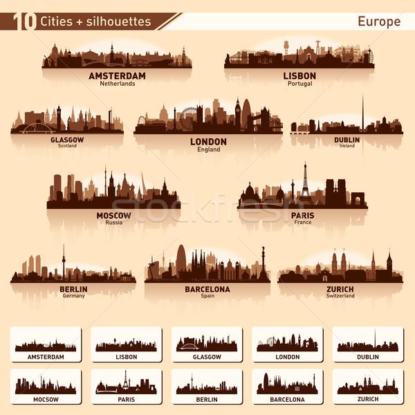 Ayarlamak 10 vektör siluetleri Avrupa Stok fotoğraf © Yurkaimmortal