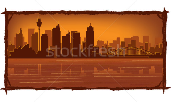 Stockfoto: Sydney · Australië · skyline · illustratie · reflectie · water
