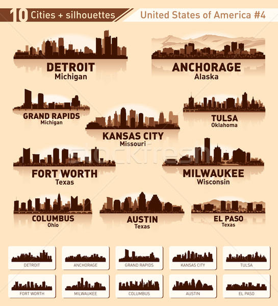 Skyline city set. 10 cities of USA #4 Stock photo © Yurkaimmortal
