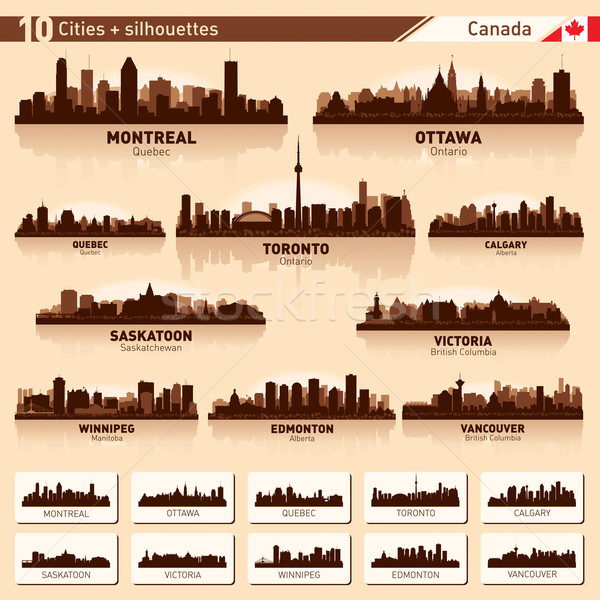 City skyline set. 10  city silhouettes of Canada #1 Stock photo © Yurkaimmortal