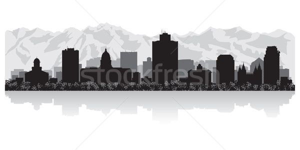 Salt Lake city skyline silhouette Stock photo © Yurkaimmortal