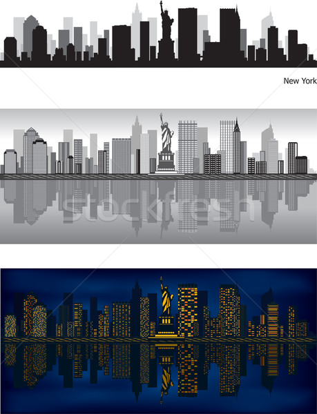 Stockfoto: New · York · City · skyline · New · York · reflectie · water · hemel