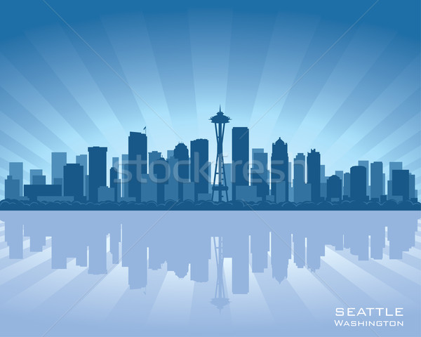 Seattle Skyline Washington Illustration Reflexion Wasser Stock foto © Yurkaimmortal