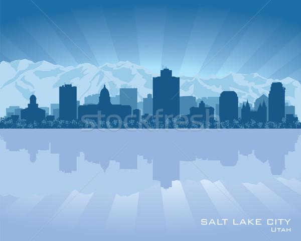 塩 湖 市 ユタ州 スカイライン シルエット ストックフォト © Yurkaimmortal
