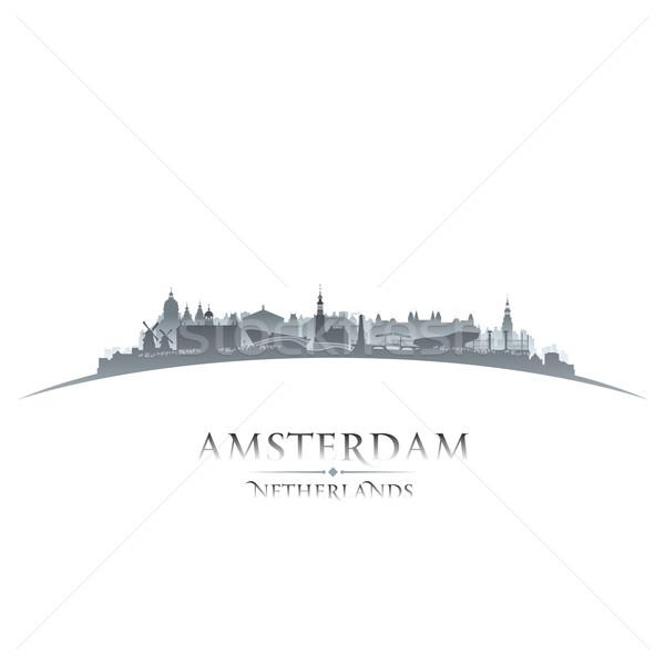Amsterdam Netherlands city skyline silhouette white background  Stock photo © Yurkaimmortal