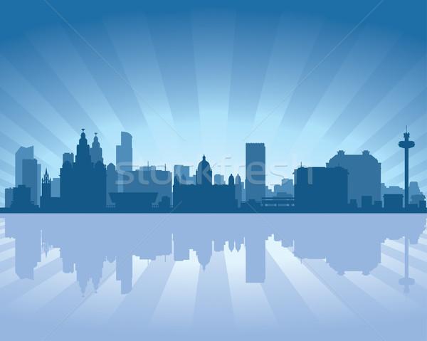Liverpool inglaterra linha do horizonte reflexão água céu Foto stock © Yurkaimmortal