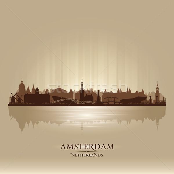 Amsterdam Netherlands city skyline vector silhouette Stock photo © Yurkaimmortal
