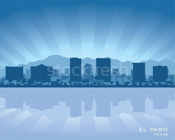 Stock fotó: Sziluett · Texas · illusztráció · tükröződés · víz · égbolt
