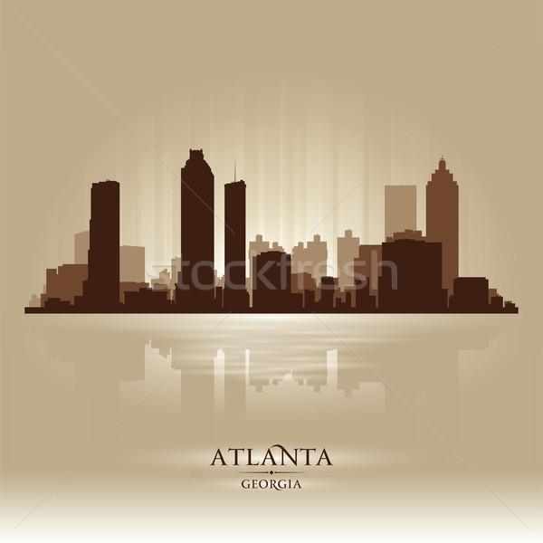 Atlanta Georgië skyline stad silhouet hemel Stockfoto © Yurkaimmortal