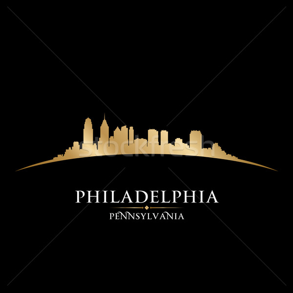 Philadelphia Pennsylvania city skyline silhouette black backgrou Stock photo © Yurkaimmortal