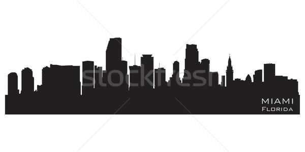Miami Florida sziluett részletes vektor sziluett Stock fotó © Yurkaimmortal