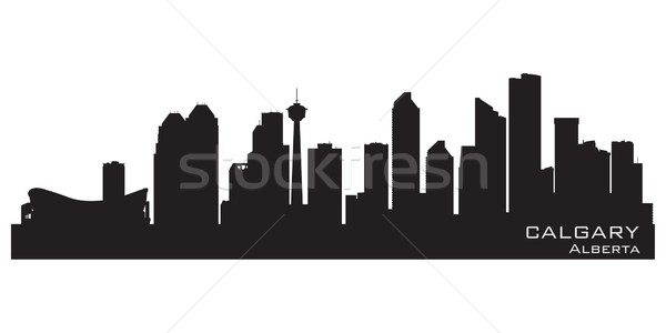 Calgary Canadá horizonte detallado silueta cielo Foto stock © Yurkaimmortal