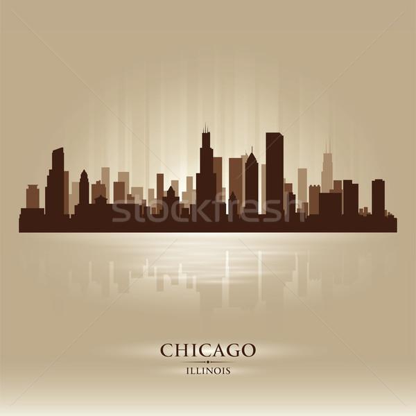 Сток-фото: Чикаго · Иллинойс · Skyline · город · силуэта · небе