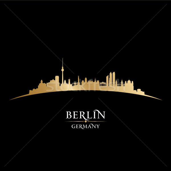 Berlin Germany city skyline silhouette black background  Stock photo © Yurkaimmortal