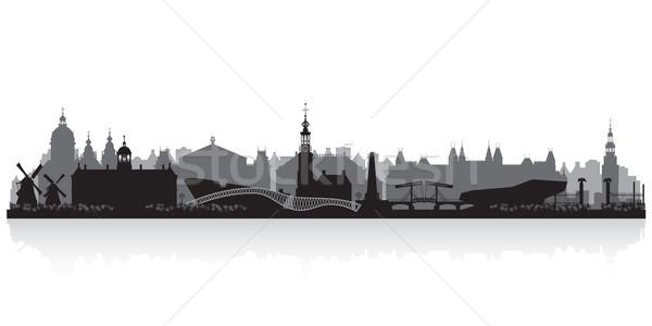 Amszterdam Hollandia városkép sziluett vektor illusztráció Stock fotó © Yurkaimmortal