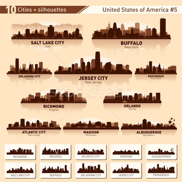 Establecer 10 ciudad siluetas EUA Foto stock © Yurkaimmortal