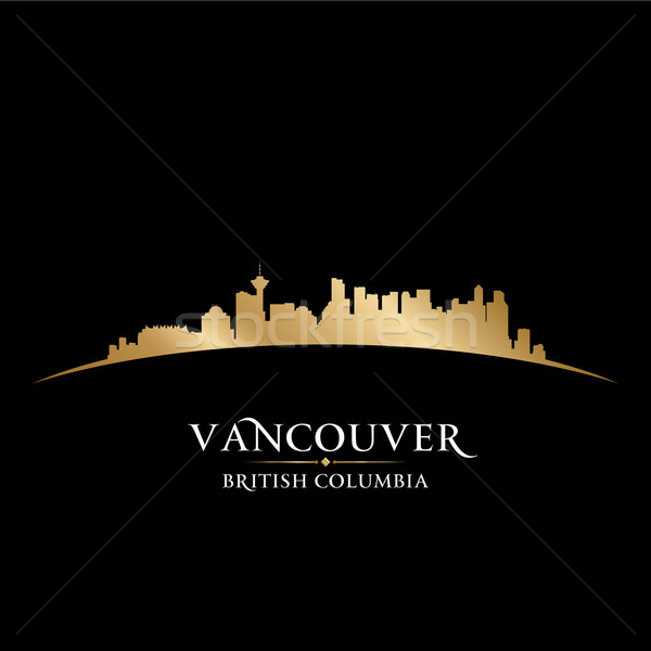 Vancouver British Columbia city skyline silhouette black backgro Stock photo © Yurkaimmortal