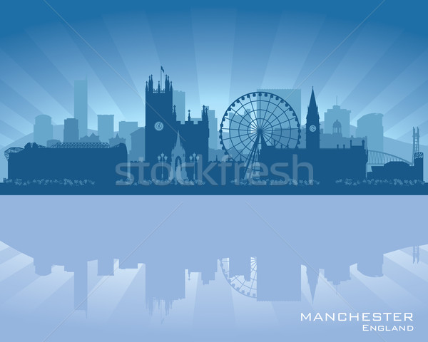 Stock photo: Manchester, England skyline with reflection in water