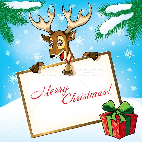 Navidad ciervos regalo tarjeta de felicitación resumen diseno Foto stock © Yurkaimmortal