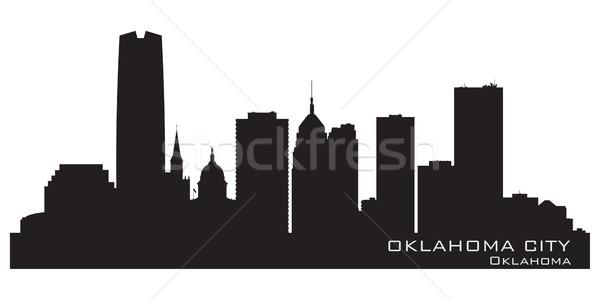 Oklahoma gedetailleerd silhouet gebouw stad Stockfoto © Yurkaimmortal