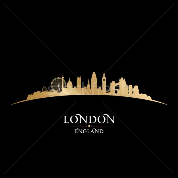 Londra İngiltere siluet siyah gökyüzü Stok fotoğraf © Yurkaimmortal