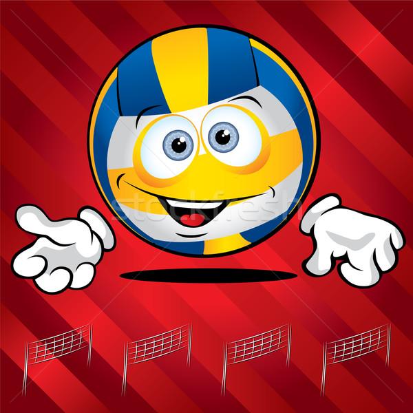 面白い 笑みを浮かべて ボレー ボール 赤 笑顔 ストックフォト © Yurkaimmortal