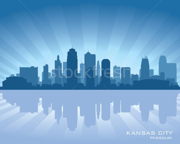 Kansas şehir Missouri ufuk çizgisi yansıma su Stok fotoğraf © Yurkaimmortal