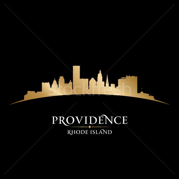 Rhode Island şehir siluet siyah gökyüzü Stok fotoğraf © Yurkaimmortal