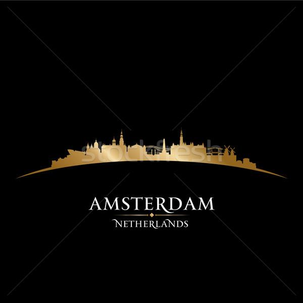 Amsterdam Países Bajos silueta negro cielo Foto stock © Yurkaimmortal