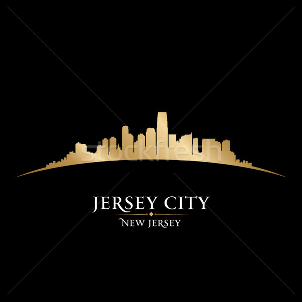 Jersey city New Jersey skyline silhouette black background  Stock photo © Yurkaimmortal