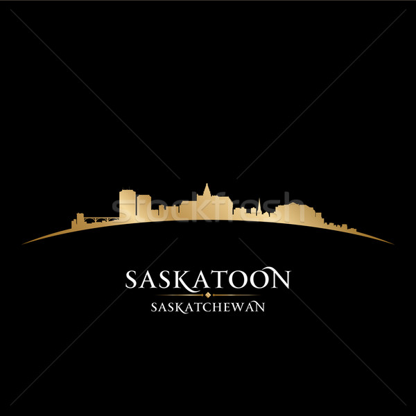 Saskatoon Saskatchewan Canada city skyline silhouette black back Stock photo © Yurkaimmortal