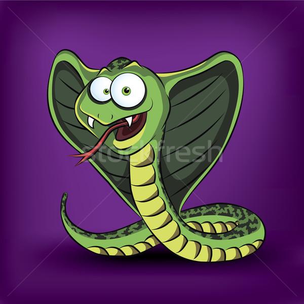 Engraçado desenho animado cobra natureza fundo verde Foto stock © Yurkaimmortal