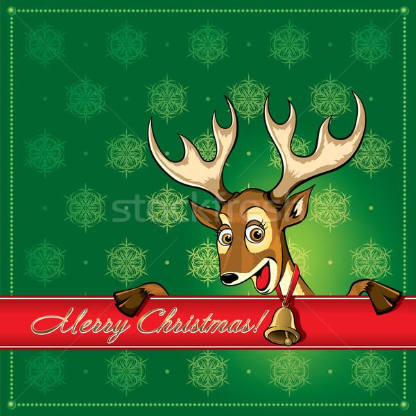 Christmas herten wenskaart groet ontwerp kunst Stockfoto © Yurkaimmortal