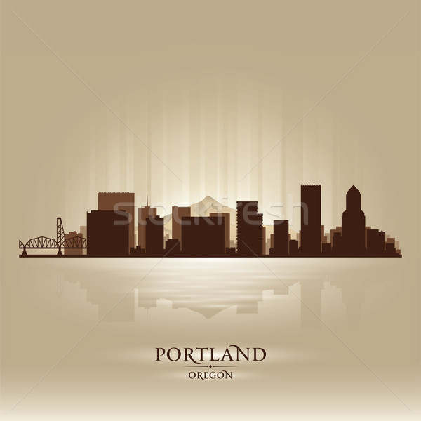 Portland Oregon skyline city silhouette Stock photo © Yurkaimmortal