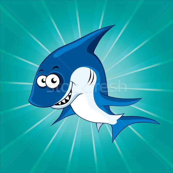 Funny Cartoon tiburón azul cara naturaleza Foto stock © Yurkaimmortal
