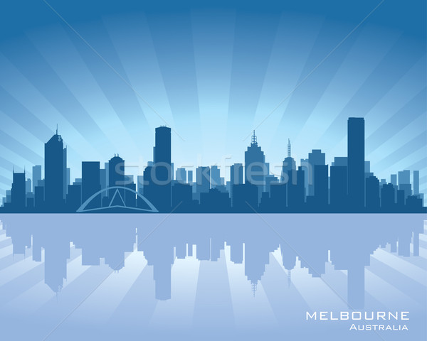 Melbourne Australië skyline illustratie reflectie water Stockfoto © Yurkaimmortal