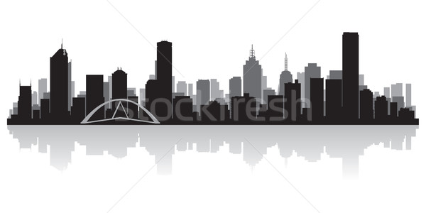 Melbourne Australia city skyline vector silhouette Stock photo © Yurkaimmortal