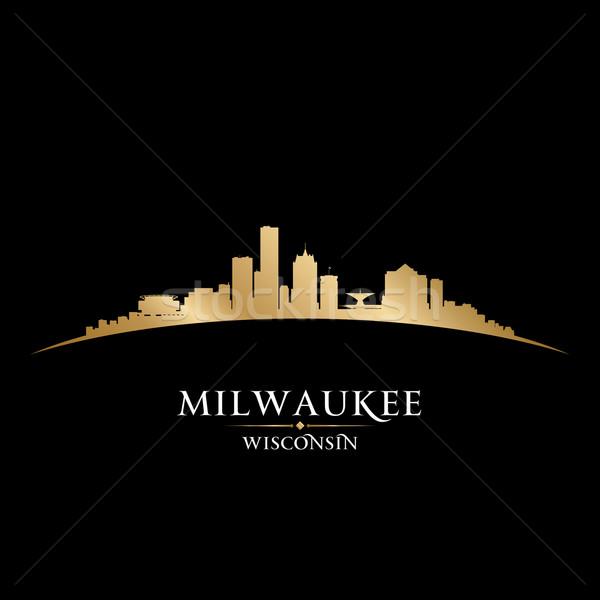 Wisconsin silhouette noir ciel bâtiment Photo stock © Yurkaimmortal