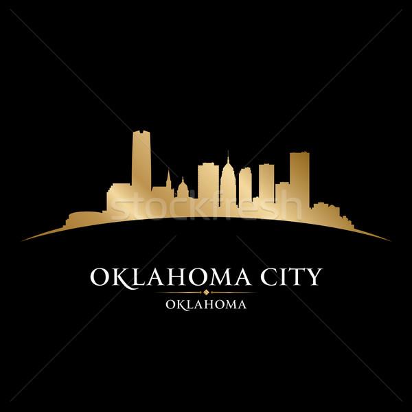 Oklahoma város sziluett fekete városkép égbolt Stock fotó © Yurkaimmortal