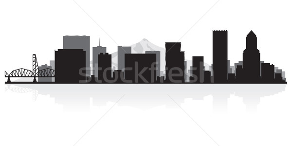 Portland city skyline silhouette Stock photo © Yurkaimmortal