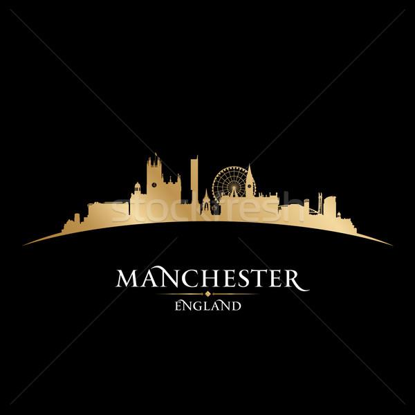 Manchester Anglia városkép sziluett fekete égbolt Stock fotó © Yurkaimmortal