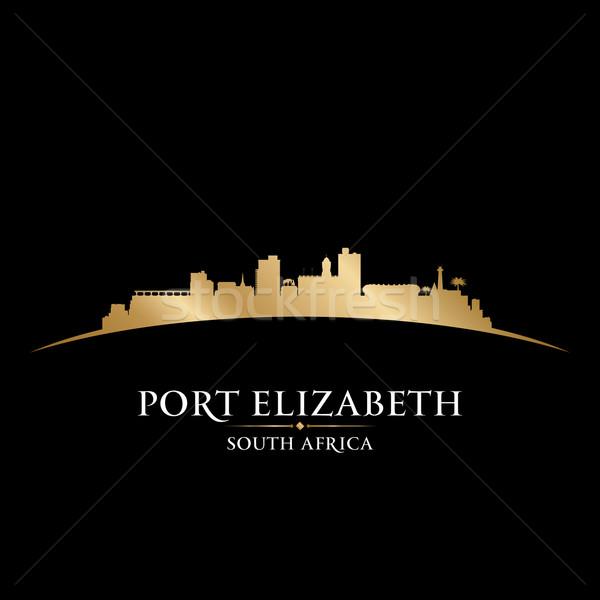 Kikötő Dél-Afrika városkép sziluett fekete épület Stock fotó © Yurkaimmortal