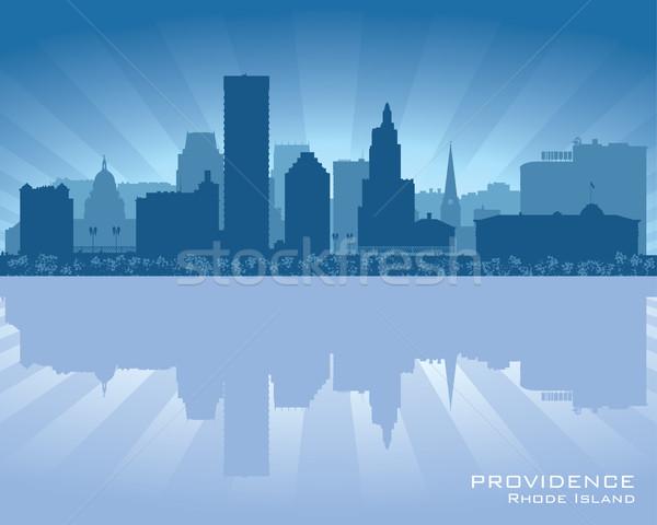 ロードアイランド州 スカイライン 市 シルエット 建物 日没 ストックフォト © Yurkaimmortal
