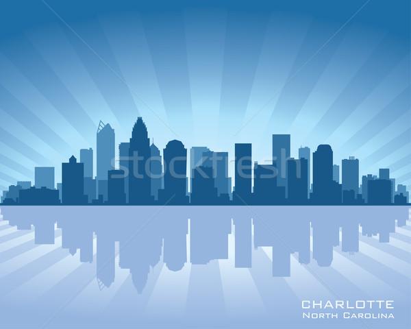 Stockfoto: Skyline · North · Carolina · illustratie · reflectie · water · hemel