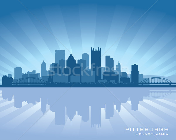 Pennsylvania sziluett tükröződés víz égbolt épület Stock fotó © Yurkaimmortal