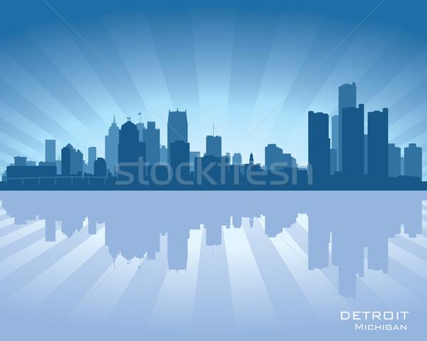 Detroit Michigan linha do horizonte ilustração reflexão água Foto stock © Yurkaimmortal