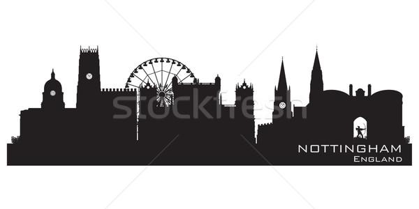 Nottingham, England skyline. Detailed silhouette. Vector illustr Stock photo © Yurkaimmortal