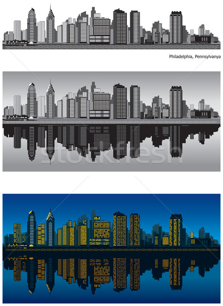 Stockfoto: Philadelphia · Pennsylvania · skyline · reflectie · water · gebouw
