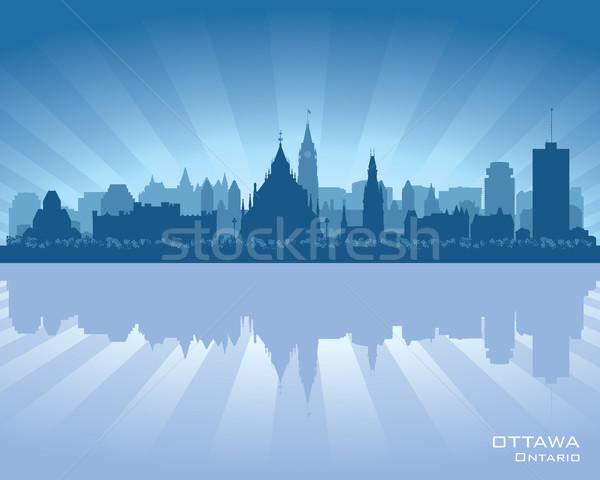 Ottawa Canadá horizonte reflexión agua edificio Foto stock © Yurkaimmortal